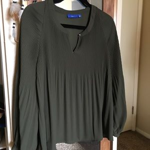 Olive Pleated Blouse